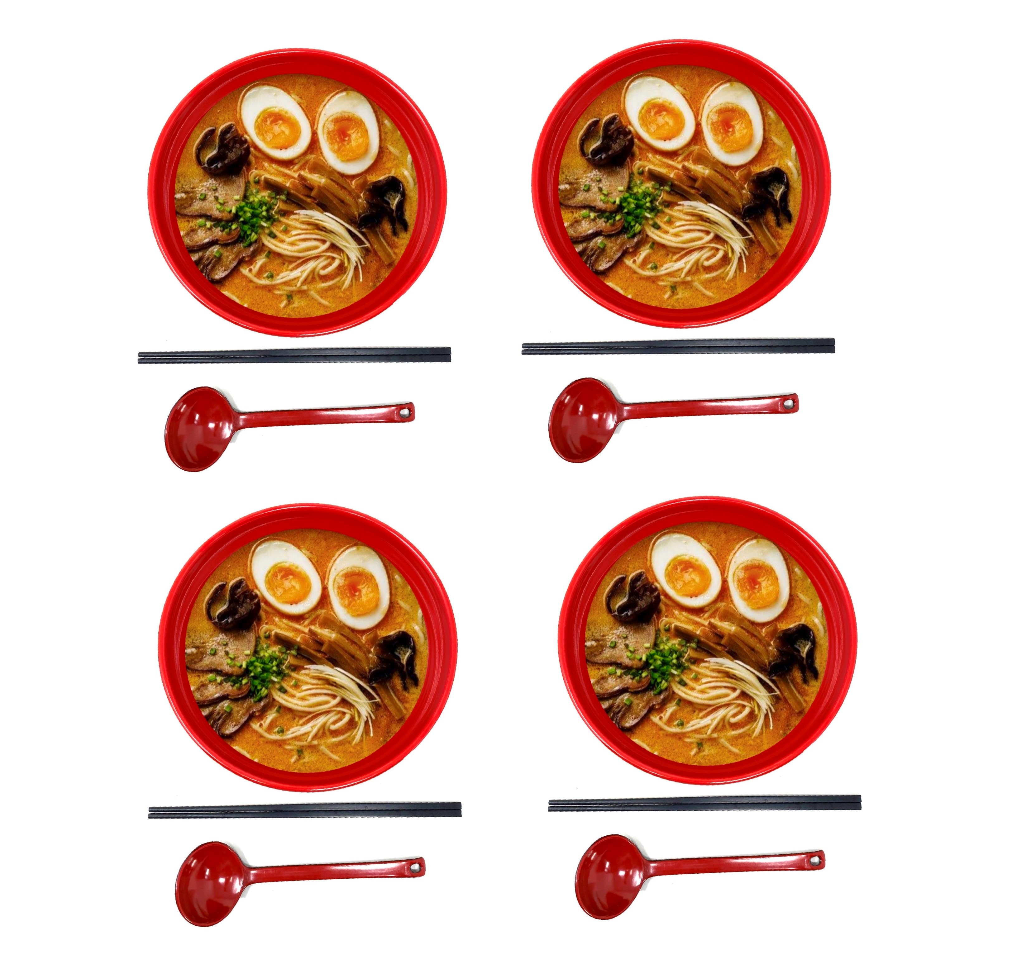 Tj Global 48 Ounce Red And Black Large Melamine Japanese Ramen Noodle Soup Bowl Set Hard Plastic Dishware For Udon Soba Pho Asian Noodles D8 X H4 Comes With Chopsticks And