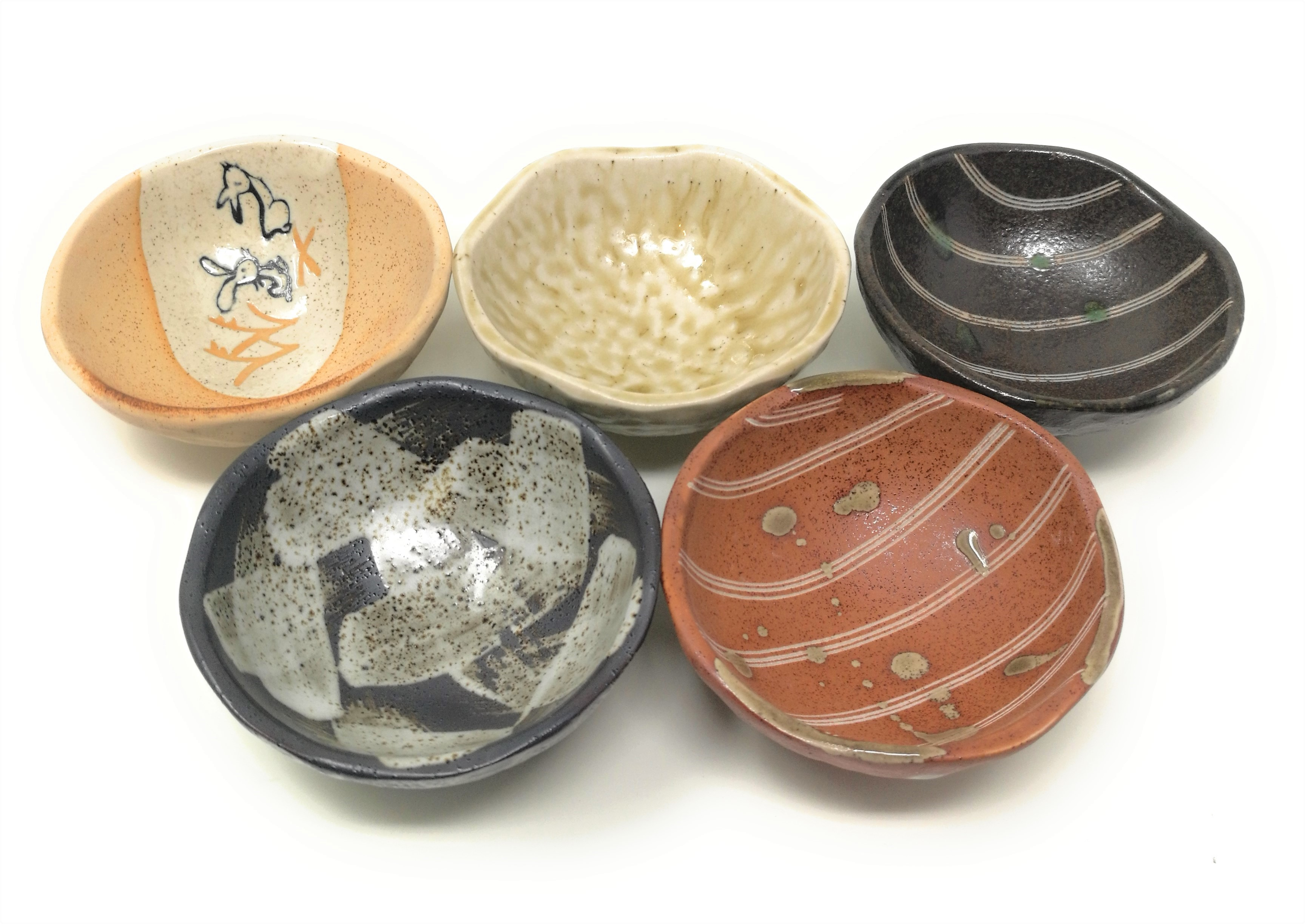 Ceramic Soy Suace Dishes Japanese and Korean Style Side Dishes Set of 5 White