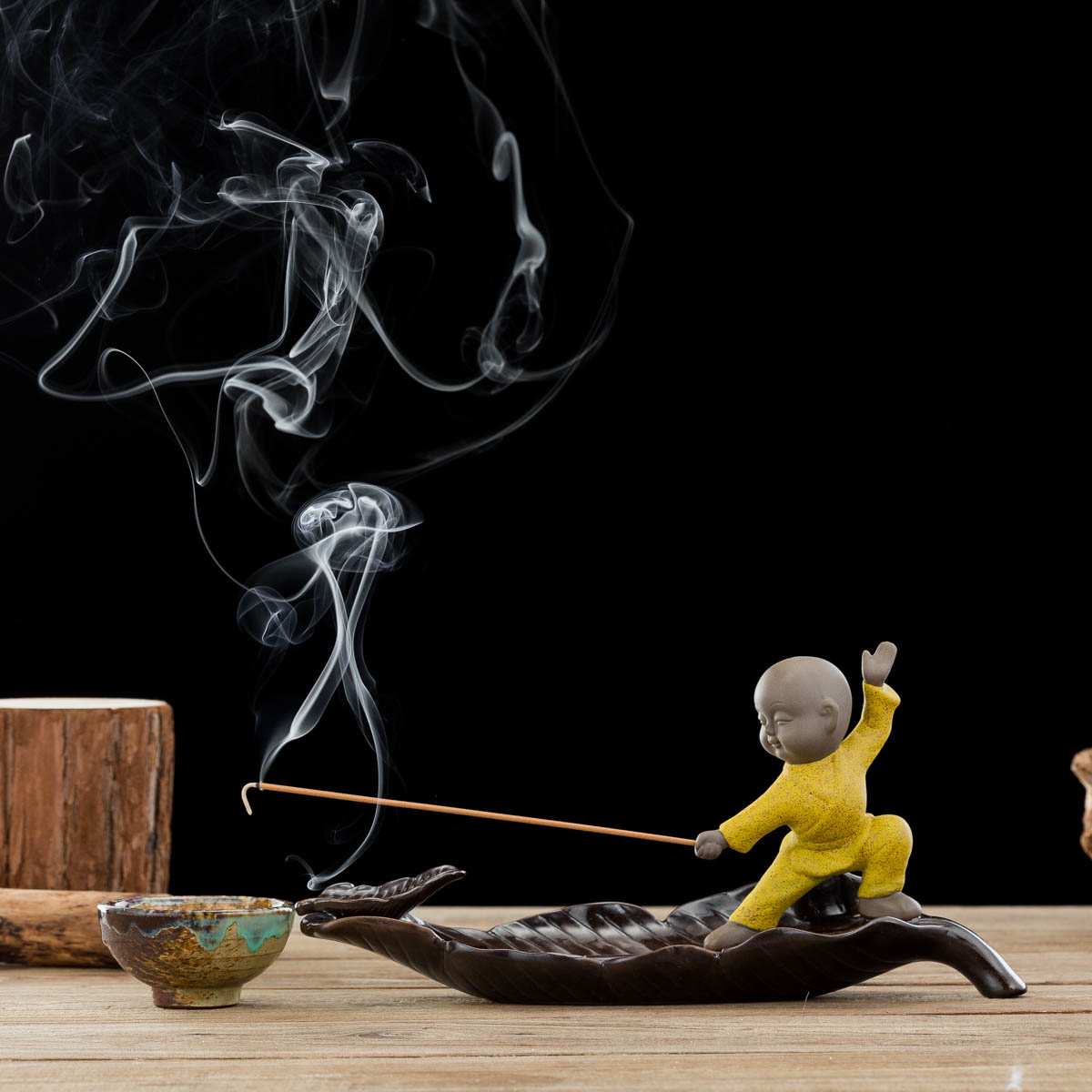 Tj Global Ceramic Monk In Yellow Standing On Leaf Incense Burner For Incense Stick And Cone Holder Ash Catcher Tray