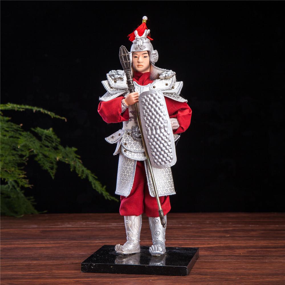 "12 Inch Metal Home Decor Oriental Pearl Figurine Iron: 12"" Chinese General Oriental Samurai Warrior Doll Wearing"