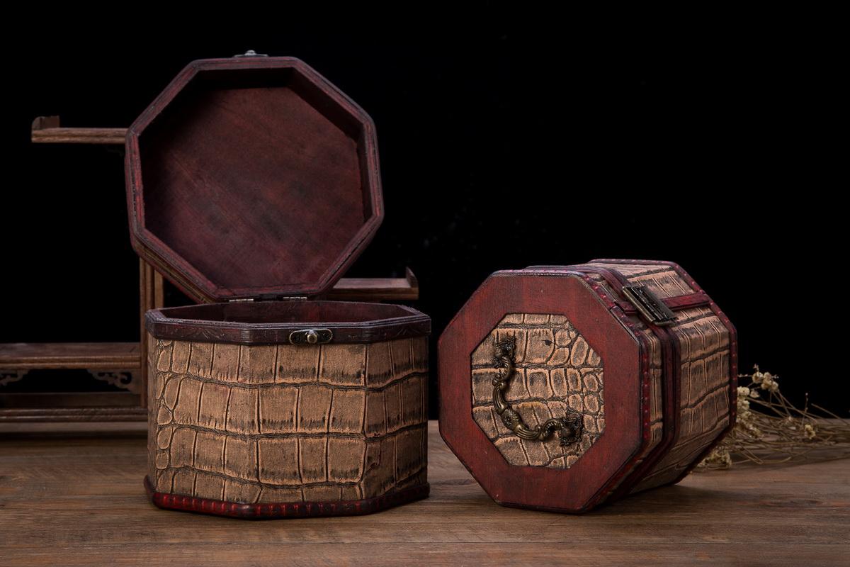 Vintage Style World Sceneries Pattern Wooden Octagon Jewelry Treasure Box Storage Organizer Trinket Keepsake Chest Set of 2