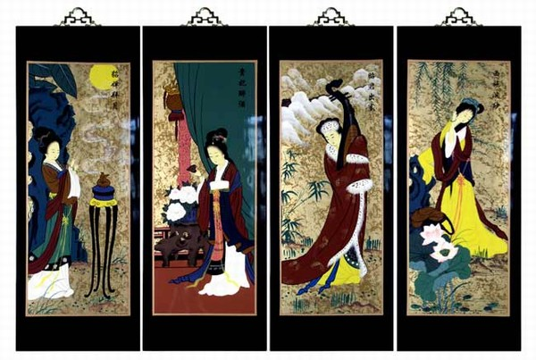 Set Of 4 Oriental Lacquered Painting Wall Art Plaques (Four Beauties ...