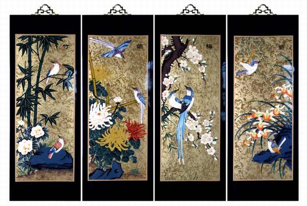 Set Of 4 Oriental Lacquered Painting Wall Art Plaques