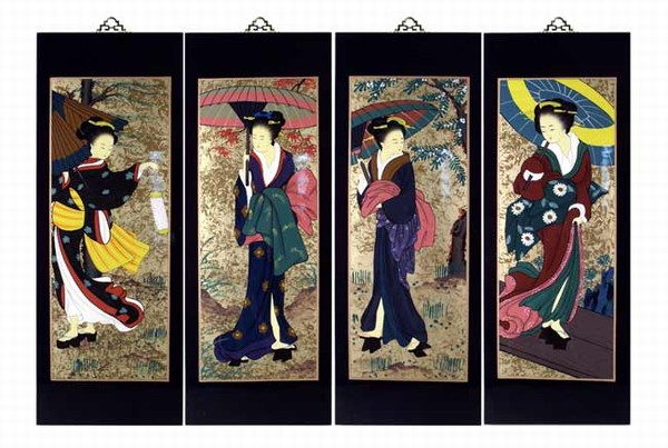 Set Of 4 Oriental Lacquered Painting Wall Art Plaques Japanese