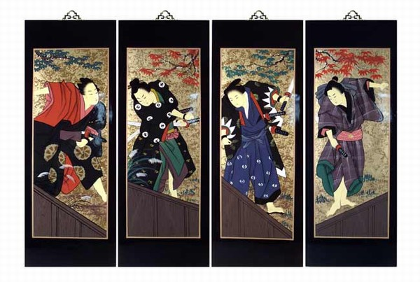 Set Of 4 Oriental Lacquered Painting Wall Art Plaques (Japanese ...
