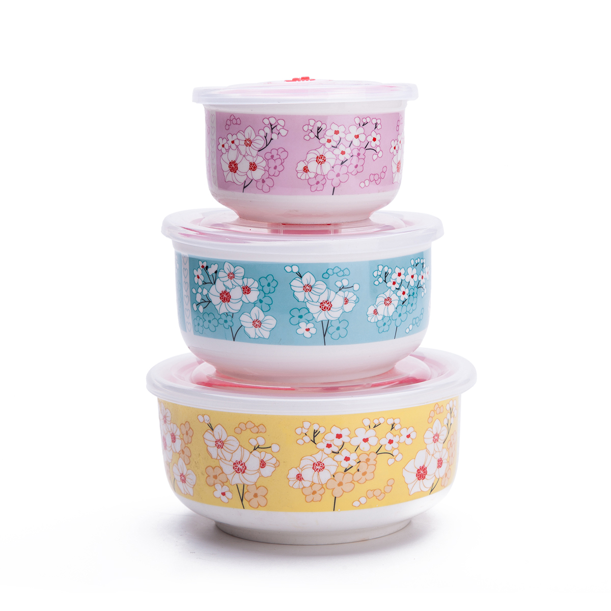 Set Of 3 Ceramic Lunch Bento Boxes Food Carrier Food Storage