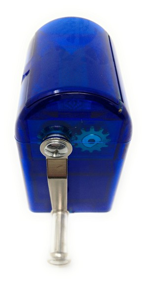 Spice and Herb Grinder with Turning Handle Pencil Sharpener Style Grinder with Pollen Catcher and Scraper, For All Grinding Purpose with Razor-sharp Teeth (Blue)