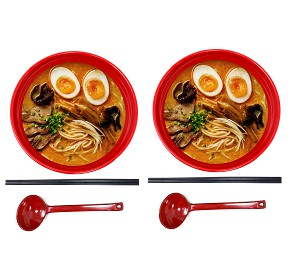 "TJ Global 48 Ounce Red and Black Large Melamine Japanese Ramen Noodle Soup Bowl Set Hard Plastic Dishware for Udon Soba Pho Asian Noodles - D8"" x H4"", Comes with chopsticks and spoons (2 Sets)"