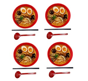 "TJ Global 48 Ounce Red and Black Large Melamine Japanese Ramen Noodle Soup Bowl Set Hard Plastic Dishware for Udon Soba Pho Asian Noodles - D8"" x H4"", Comes with chopsticks and spoons (4 Sets)"