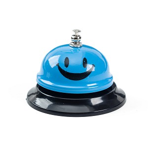 Call Bell, 3.35 Inch Diameter, Metal Bell, Blue Smiley Face, Desk Bell Service Bell for Hotels, Schools, Restaurants, Reception Areas, Hospitals, Customer Service, Blue (2 Bells)