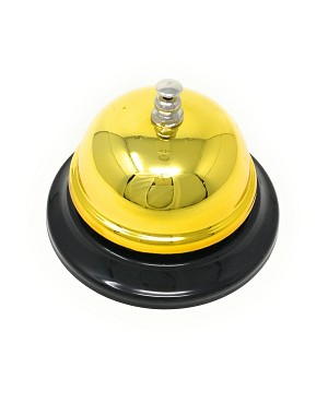 Call Bell, 3.35 Inch Diameter, Chrome Finish, All-Metal, Desk Bell Service Bell for Hotels, Schools, Restaurants, Reception Areas, Hospitals, Customer Service, Gold (3 Bells)