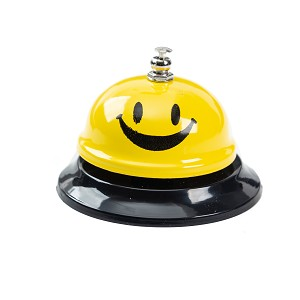 Call Bell, 3.35 Inch Diameter, Metal Bell, Yellow Smiley Face, Desk Bell Service Bell for Hotels, Schools, Restaurants, Reception Areas, Hospitals, Customer Service, Yellow (2 Bells)