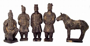 Set Of 5 Qin Dynasty Terracotta Warriors In Miniature MED