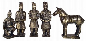 Set Of 5 Qin Dynasty Terracotta Warriors In Miniature MED Brass Color