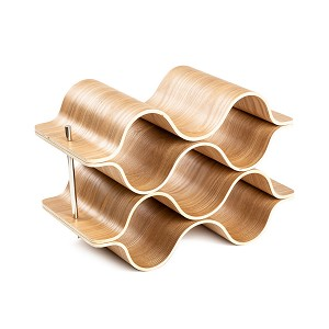 6 Bottle 4-Tier Wave Desktop Wine Rack Freestanding Countertop Bottle Holder for Wine Storage, Wood, Modern and Minimalist