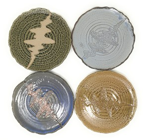 Set of 4 Japanese Pottery Ceramic 9.5 Inch Plates for Any Meal and Any Dish, Japanese Dinnerware and Tableware Comes in Assorted Colors