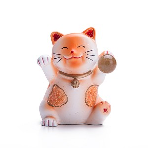 Hand Painted Feng Shui Mini Maneki Neko Lucky Cat Orange
