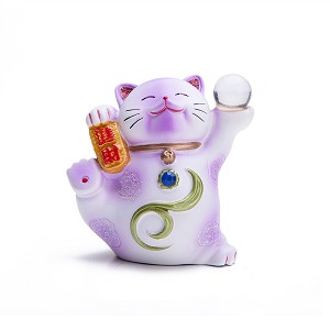 "Hand Painted Feng Shui Mini Maneki Neko Lucky Cat Purple ""Jin Cai"" (Be Wealthy)"