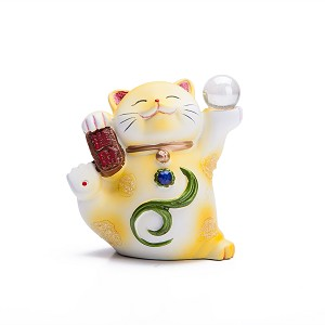 "Hand Painted Feng Shui Mini Maneki Neko Lucky Cat Yellow ""Jin Cai"" (Be Wealthy)"