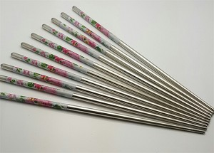 10 Pcs (5 Pairs) High Quality Peony Design Silver Stainless Steel Chopsticks