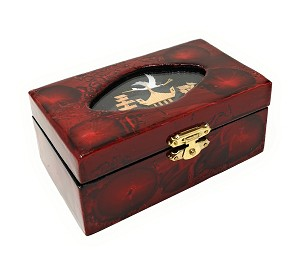 Elegant Oriental Hand Painting Cork Sculpture Lacquered Jewelry Box Storage Organizer Trinket Keepsake Box (L4.75 x W2.75 x H2)