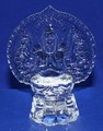 Crystal Glass Art Guan Yin Buddha Figurine W. Flashing Light