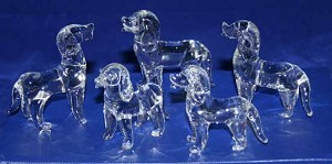 Crystal Glass Art Set Of 5 Dogs Figurines In Gift Box