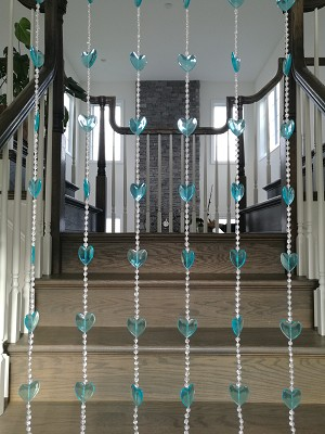 Beautiful Home Decor Acrylic Beaded Curtain Door Screen Divider - Hearts (Blue)