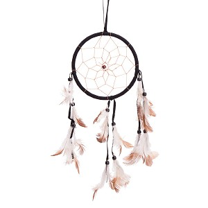 "15"" Traditional Black Dream Catcher with Feathers Wall or Car Hanging Ornament Single Circle"