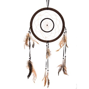 "21"" Traditional Brown Dream Catcher with Feathers Wall or Car Hanging Ornament Double Circles"