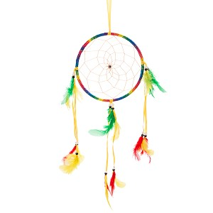 "17"" Traditional Rainbow Dream Catcher with Feathers Wall or Car Hanging Ornament Single Circle"