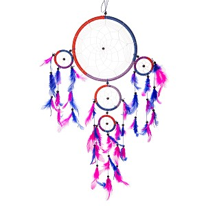 "24"" Traditional Blue & Magenta Dream Catcher with Feathers Wall or Car Hanging Ornament Five Circles"