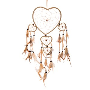 "19"" Traditional Brown Dream Catcher with Feathers Wall or Car Hanging Ornament Five Hearts"