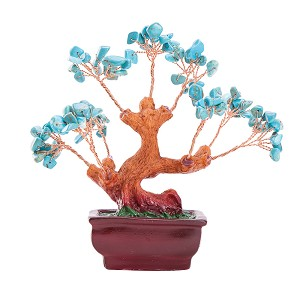 Stunning Feng Shui Blue Turquoise Gemstone Quartz Bonsai Money Tree