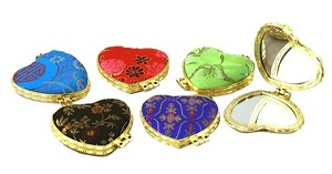 Assortment Of 6 Heart Shape Make Up Mirrors