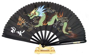 "13"" Dragon Design Kong Fu Fan (Black)"