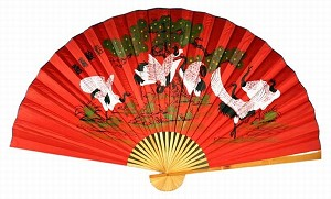 "Classic 35"" Oriental Feng Shui Wall Fan-Cranes (Red)"