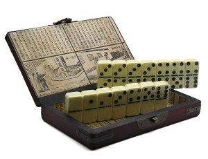 Collectible Ivory Color Domino Game With Chinese Storage Case