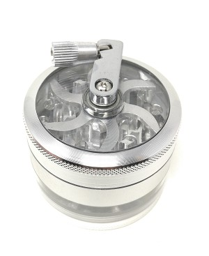 Spice and Herb Grinder with Top Turning Handle, 4 Piece Grinder with Pollen Catcher and Scraper, For All Grinding Purpose with Razor-sharp Teeth - Silver