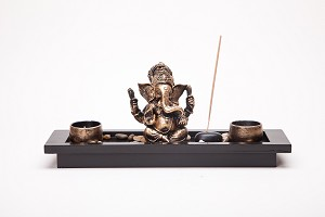 Asian Japanese Feng Shui Sand Zen Garden Buddha Incense & Candle HY1418