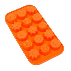 THY COLLECTIBLES Soft Silicone Ice Cube Tray Ice Maker Mold Candy Mold Chocolate Mold (Orange)