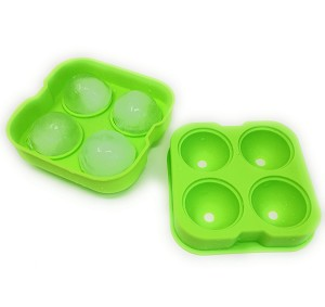 THY COLLECTIBLES Soft Silicone Ice Ball Maker Mold - Food Grade Silicone Ice Tray - Molds 4 X 4.5cm Round Ice Ball Spheres (Green)