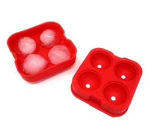 THY COLLECTIBLES Soft Silicone Ice Ball Maker Mold - Food Grade Silicone Ice Tray - Molds 4 X 4.5cm Round Ice Ball Spheres (Red)