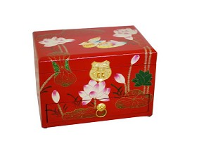 Elegant Oriental Hand Painting Lacquered Jewelry Box