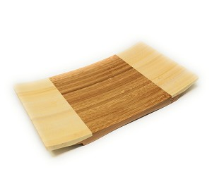 "Sashimi Sushi Bamboo Curve Serving Geta Plate - Japanese Style Tableware Bamboo Sushi Board Cutting Tray (L9"" X W5.9"")"