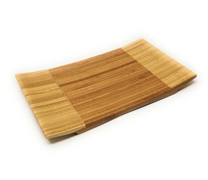 "Sashimi Sushi Bamboo Curve Serving Geta Plate - Japanese Style Tableware Bamboo Sushi Board Cutting Tray (L10.6"" X W6.7"")"