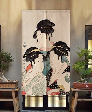 "Japanese Noren Doorway Curtain/Tapestry for Home or Restaurant - 33.5"" x 59"" (Three Geishas)"