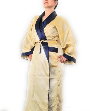 THY COLLECTIBLES Unisex Reversible Silk Satin Robe Kimono Relaxation Bathrobe Dragon Embroidered Night Gown (Gold and Navy, Asian XXL = US XL)
