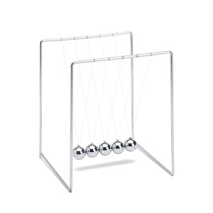 THY COLLECTIBLES Unique Stainless Steel Newtons Cradle Balance Balls 5.5 inch Desk Top Decoration Kinetic Motion Toy For Home And Office