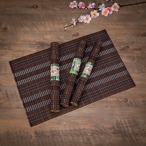 "Eco-Friendly 18"" x 12"" Bamboo Table Place mats Non-slip Table Decor Mats for Kitchen Dining Room Set of 4, Brown & Silver"